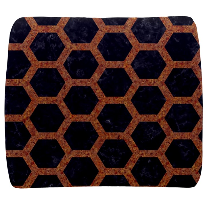 HEXAGON2 BLACK MARBLE & RUSTED METAL (R) Back Support Cushion