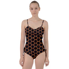 HEXAGON2 BLACK MARBLE & RUSTED METAL (R) Sweetheart Tankini Set