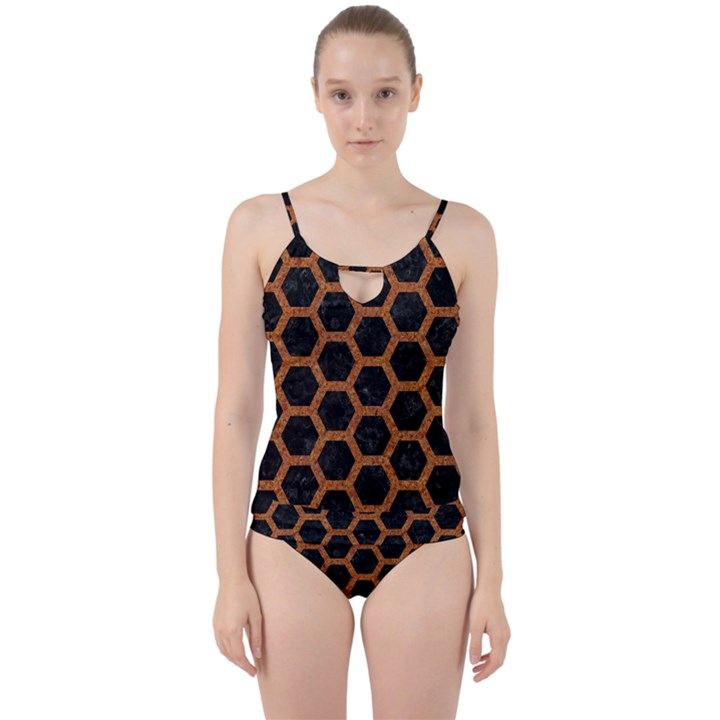 HEXAGON2 BLACK MARBLE & RUSTED METAL (R) Cut Out Top Tankini Set