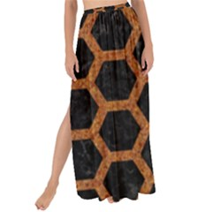 HEXAGON2 BLACK MARBLE & RUSTED METAL (R) Maxi Chiffon Tie-Up Sarong