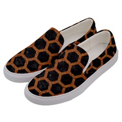 HEXAGON2 BLACK MARBLE & RUSTED METAL (R) Men s Canvas Slip Ons