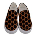 HEXAGON2 BLACK MARBLE & RUSTED METAL (R) Women s Canvas Slip Ons View1