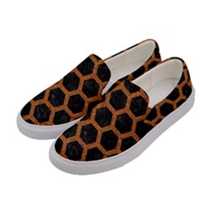 HEXAGON2 BLACK MARBLE & RUSTED METAL (R) Women s Canvas Slip Ons