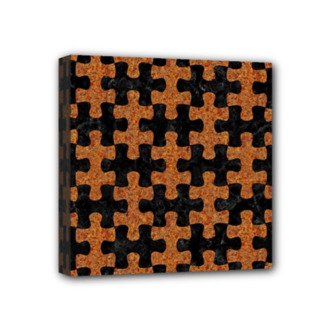 Puzzle1 Black Marble & Rusted Metal Mini Canvas 4  X 4