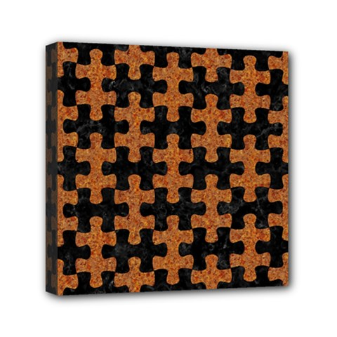 Puzzle1 Black Marble & Rusted Metal Mini Canvas 6  X 6  by trendistuff