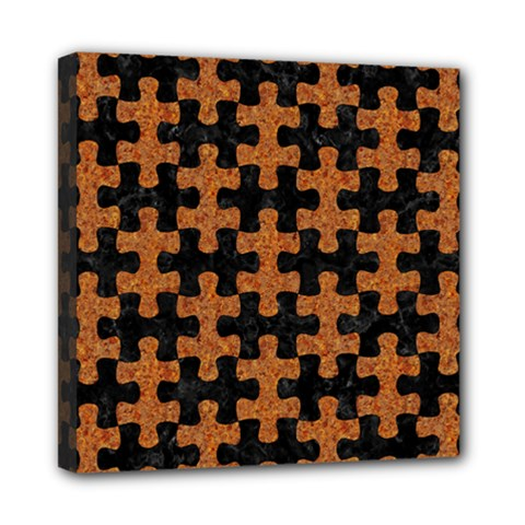 Puzzle1 Black Marble & Rusted Metal Mini Canvas 8  X 8