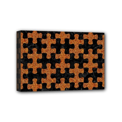 Puzzle1 Black Marble & Rusted Metal Mini Canvas 6  X 4  by trendistuff