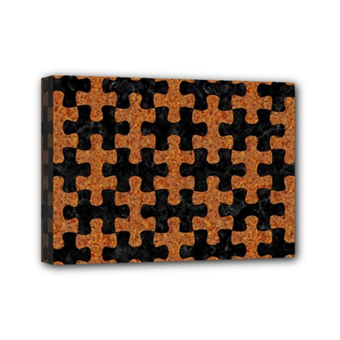 Puzzle1 Black Marble & Rusted Metal Mini Canvas 7  X 5  by trendistuff