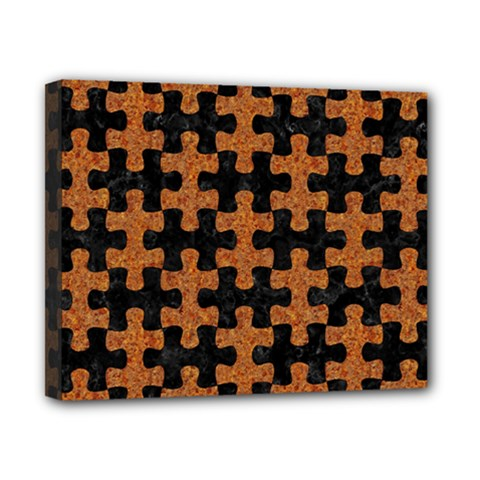 Puzzle1 Black Marble & Rusted Metal Canvas 10  X 8  by trendistuff