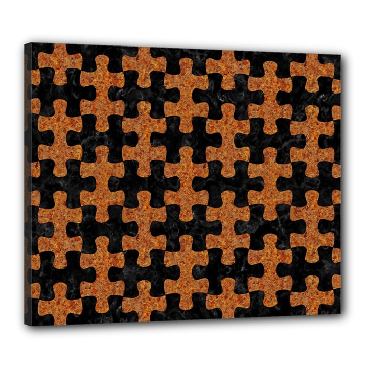PUZZLE1 BLACK MARBLE & RUSTED METAL Canvas 24  x 20