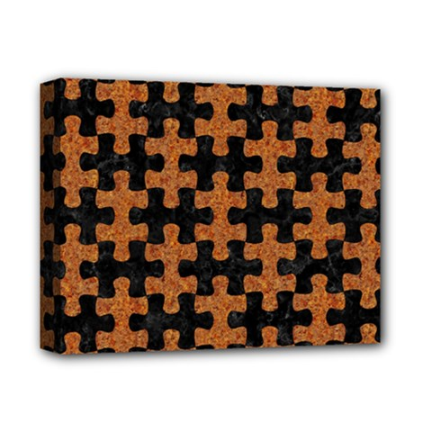 Puzzle1 Black Marble & Rusted Metal Deluxe Canvas 14  X 11  by trendistuff