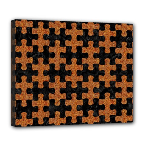 Puzzle1 Black Marble & Rusted Metal Deluxe Canvas 24  X 20   by trendistuff