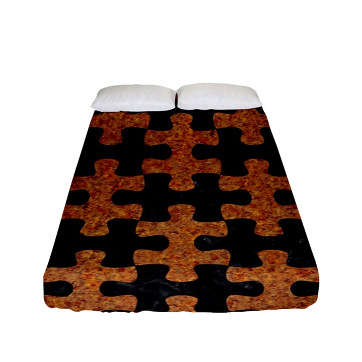 PUZZLE1 BLACK MARBLE & RUSTED METAL Fitted Sheet (Full/ Double Size)