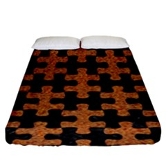 Puzzle1 Black Marble & Rusted Metal Fitted Sheet (king Size) by trendistuff