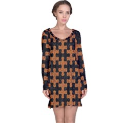 Puzzle1 Black Marble & Rusted Metal Long Sleeve Nightdress