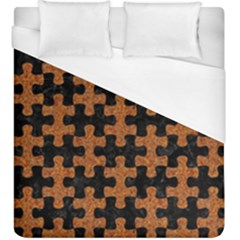 Puzzle1 Black Marble & Rusted Metal Duvet Cover (king Size) by trendistuff