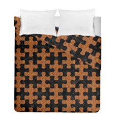 Puzzle1 Black Marble & Rusted Metal Duvet Cover Double Side (full/ Double Size) by trendistuff