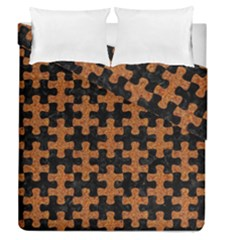 Puzzle1 Black Marble & Rusted Metal Duvet Cover Double Side (queen Size) by trendistuff