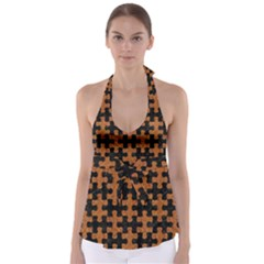 Puzzle1 Black Marble & Rusted Metal Babydoll Tankini Top by trendistuff
