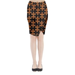 Puzzle1 Black Marble & Rusted Metal Midi Wrap Pencil Skirt