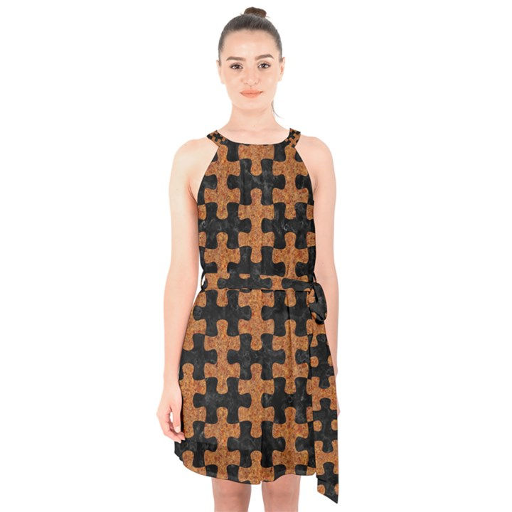 PUZZLE1 BLACK MARBLE & RUSTED METAL Halter Collar Waist Tie Chiffon Dress