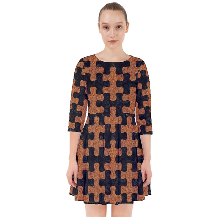 PUZZLE1 BLACK MARBLE & RUSTED METAL Smock Dress