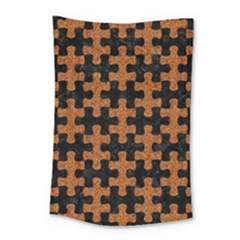 Puzzle1 Black Marble & Rusted Metal Small Tapestry by trendistuff