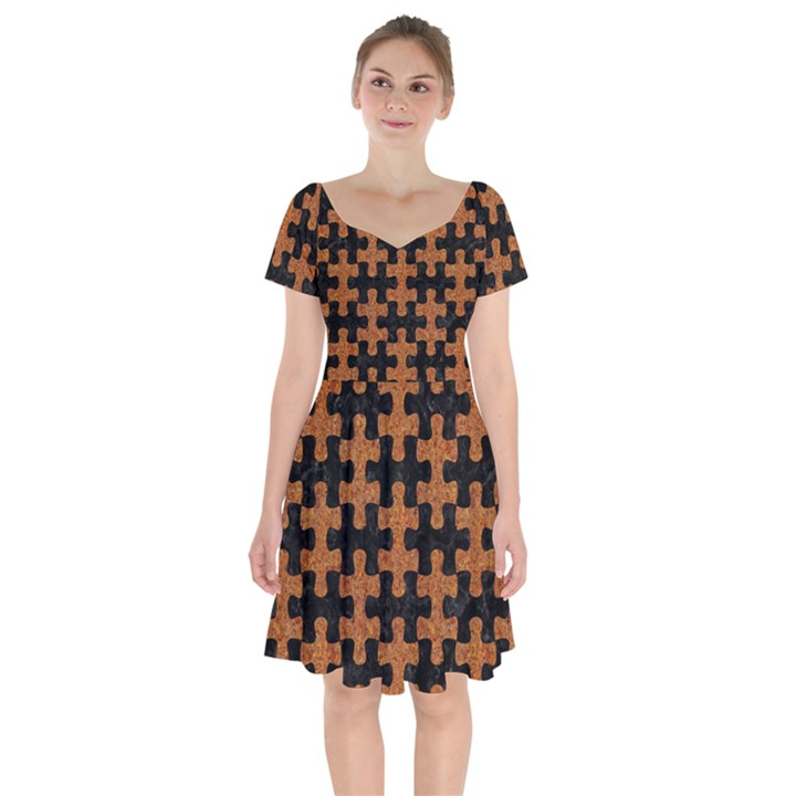 PUZZLE1 BLACK MARBLE & RUSTED METAL Short Sleeve Bardot Dress