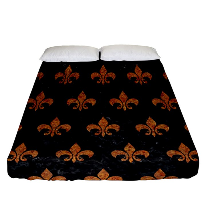 ROYAL1 BLACK MARBLE & RUSTED METAL Fitted Sheet (California King Size)