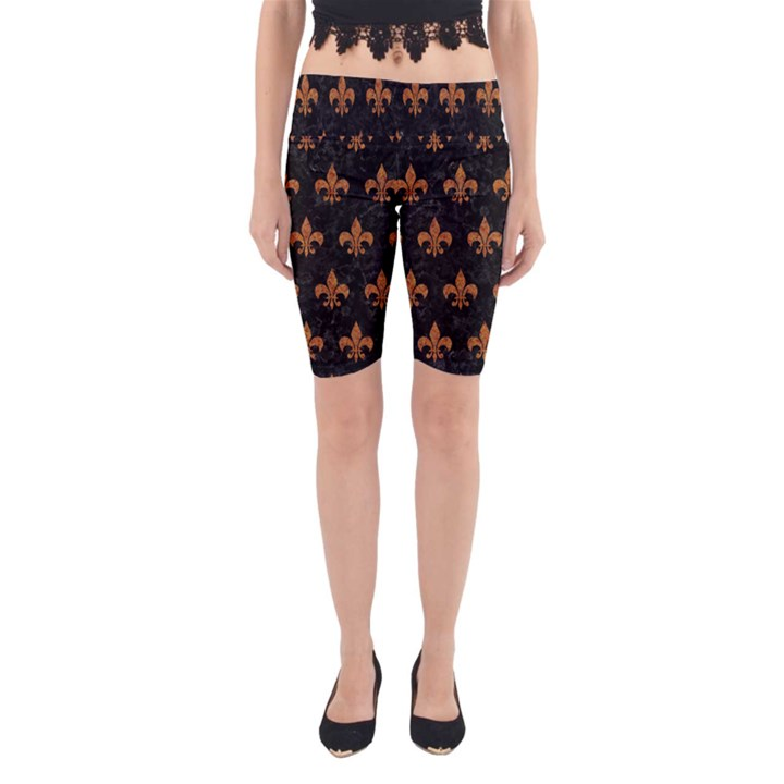 ROYAL1 BLACK MARBLE & RUSTED METAL Yoga Cropped Leggings