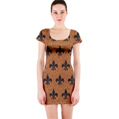 Royal1 Black Marble & Rusted Metal (r) Short Sleeve Bodycon Dress