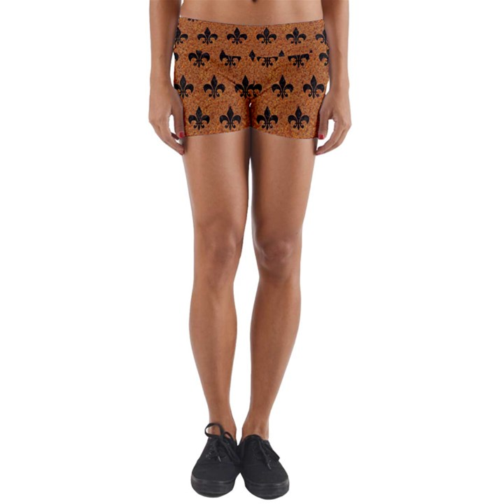ROYAL1 BLACK MARBLE & RUSTED METAL (R) Yoga Shorts
