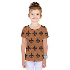 Royal1 Black Marble & Rusted Metal (r) Kids  One Piece Tee
