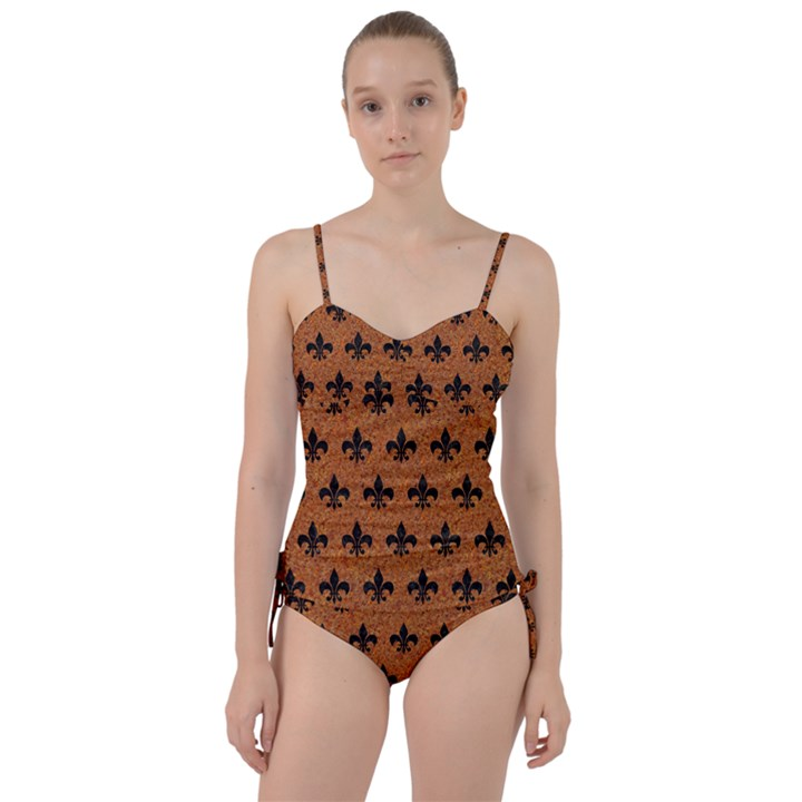 ROYAL1 BLACK MARBLE & RUSTED METAL (R) Sweetheart Tankini Set