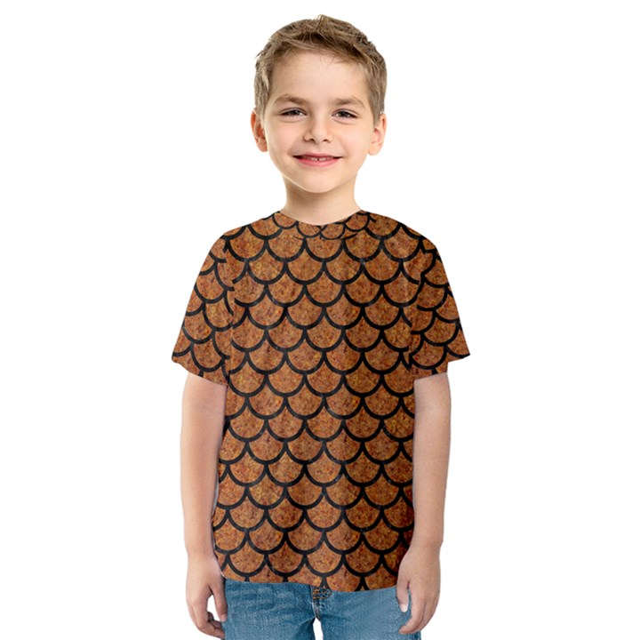 SCALES1 BLACK MARBLE & RUSTED METAL Kids  Sport Mesh Tee