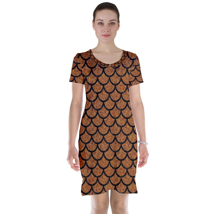 SCALES1 BLACK MARBLE & RUSTED METAL Short Sleeve Nightdress