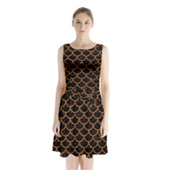 Scales1 Black Marble & Rusted Metal (r) Sleeveless Waist Tie Chiffon Dress by trendistuff