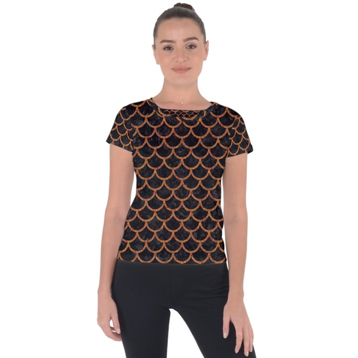SCALES1 BLACK MARBLE & RUSTED METAL (R) Short Sleeve Sports Top