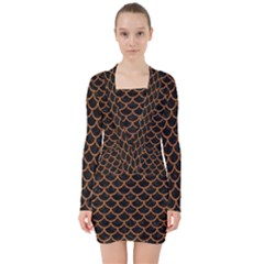 Scales1 Black Marble & Rusted Metal (r) V Neck Bodycon Long Sleeve Dress