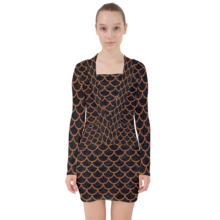 SCALES1 BLACK MARBLE & RUSTED METAL (R) V-neck Bodycon Long Sleeve Dress