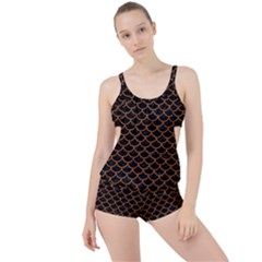 Scales1 Black Marble & Rusted Metal (r) Boyleg Tankini Set