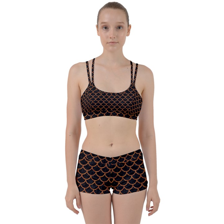 SCALES1 BLACK MARBLE & RUSTED METAL (R) Women s Sports Set