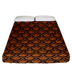 Scales2 Black Marble & Rusted Metal Fitted Sheet (queen Size) by trendistuff