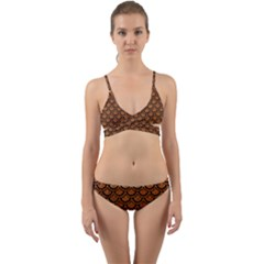SCALES2 BLACK MARBLE & RUSTED METAL Wrap Around Bikini Set