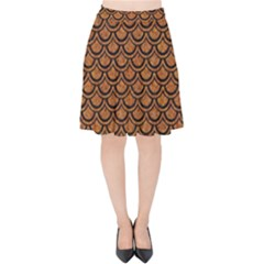 SCALES2 BLACK MARBLE & RUSTED METAL Velvet High Waist Skirt