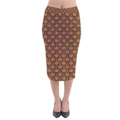 SCALES2 BLACK MARBLE & RUSTED METAL Velvet Midi Pencil Skirt
