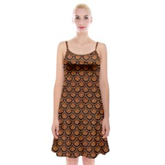 SCALES2 BLACK MARBLE & RUSTED METAL Spaghetti Strap Velvet Dress