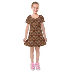 SCALES2 BLACK MARBLE & RUSTED METAL Kids  Short Sleeve Velvet Dress