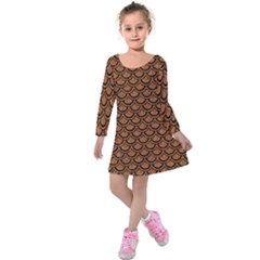 SCALES2 BLACK MARBLE & RUSTED METAL Kids  Long Sleeve Velvet Dress
