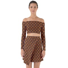 SCALES2 BLACK MARBLE & RUSTED METAL Off Shoulder Top with Skirt Set